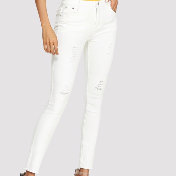 2019 best professional 100% authentic White Ripped Jeans